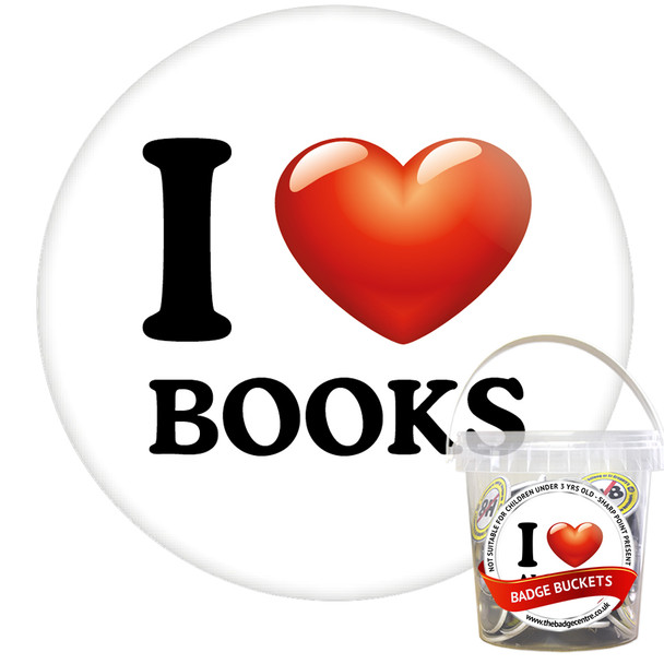 Pack of I Love Books Badges - Badge Bucket