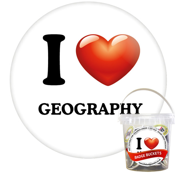 Pack of I Love Geography Badges - Badge Bucket