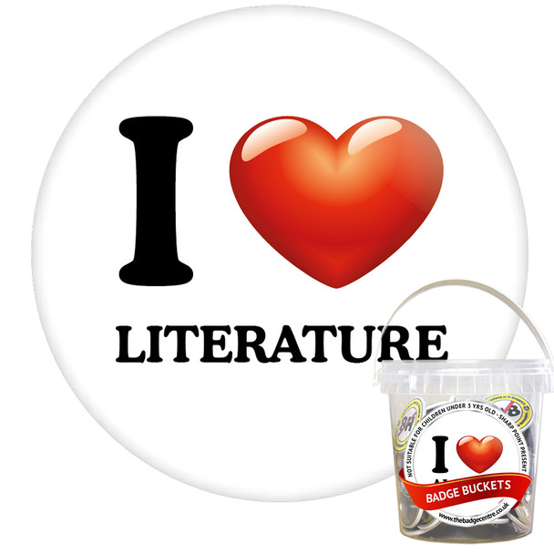 Pack of I Love Literature Badges - Badge Bucket