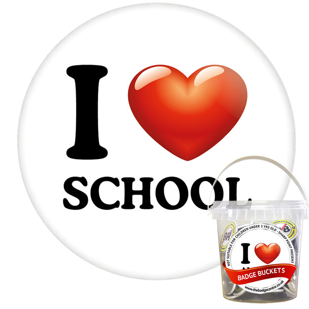 Pack of I Love School Badges - Badge Bucket