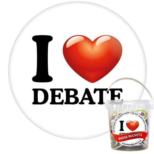 Pack of I Love Debate Badges - Badge Bucket