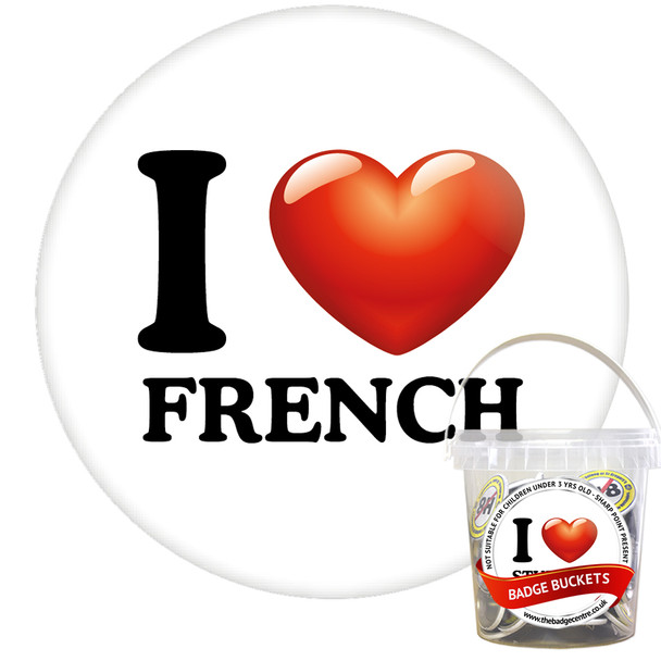 Pack of I Love French Badges - Badge Bucket