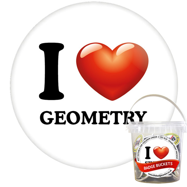 Pack of I Love Geometry Badges - Badge Bucket