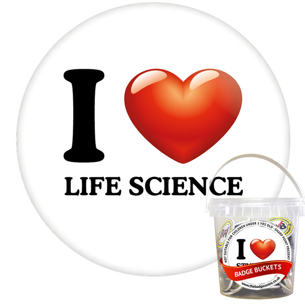 Pack of I Love Life Science Badges - Badge Bucket