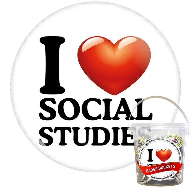 Pack of I Love Social Studies Badges - Badge Bucket