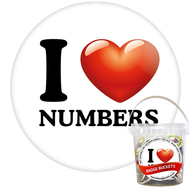 Pack of I Love Numbers Badges - Badge Bucket