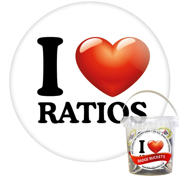 Pack of I Love Ratios Badges - Badge Bucket