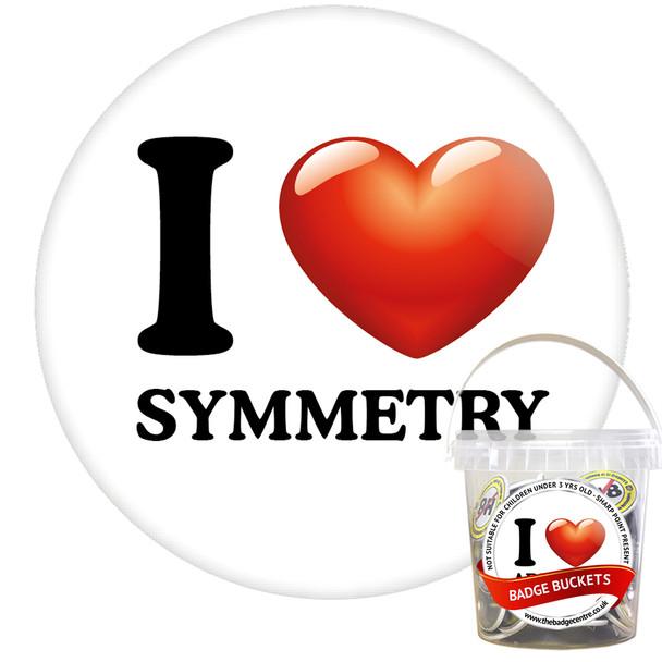 Pack of I Love Symmetry Badges - Badge Bucket