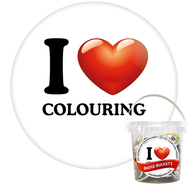 Pack of I Love Colouring Badges - Badge Bucket