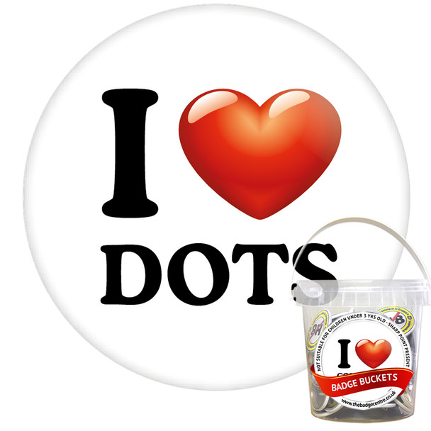Pack of I Love Dots Badges - Badge Bucket