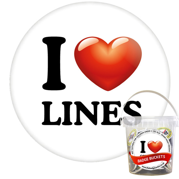 Pack of I Love Lines Badges - Badge Bucket