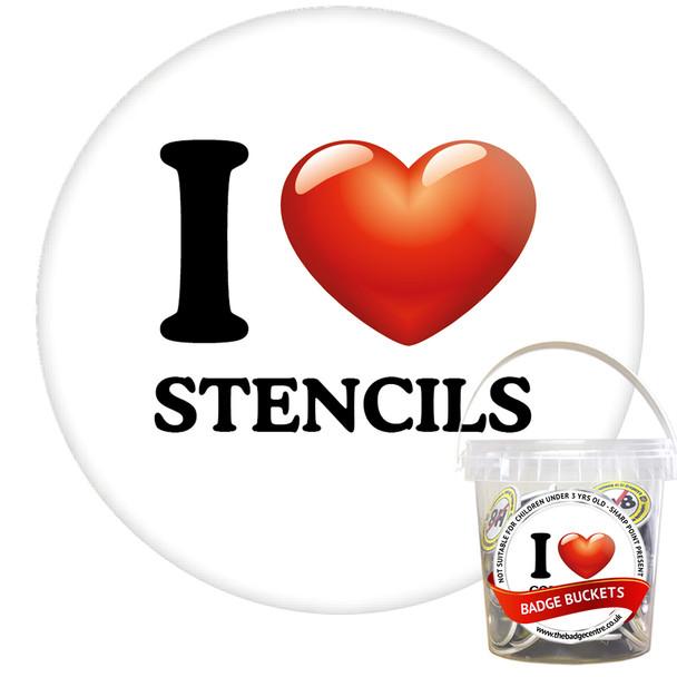 Pack of I Love Stencils  Badges - Badge Bucket