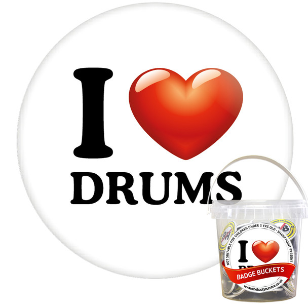 Pack of I Love Drums Badges - Badge Bucket