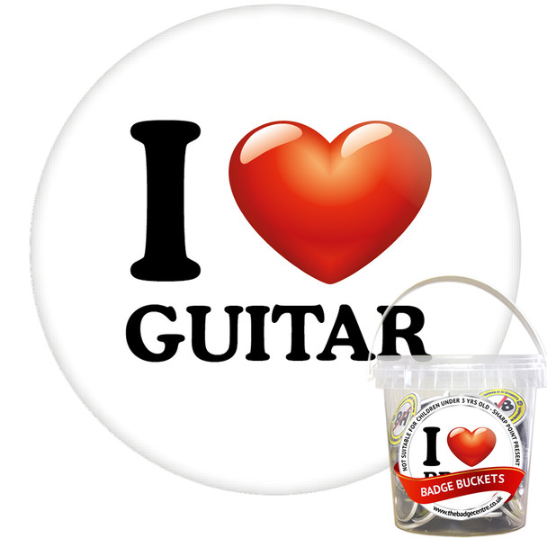 Pack of I Love Guitar Badges - Badge Bucket