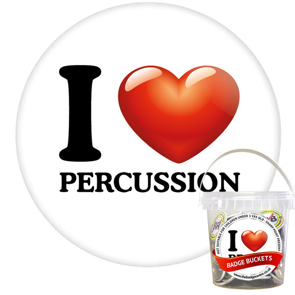 Pack of I Love Percussion Badges - Badge Bucket