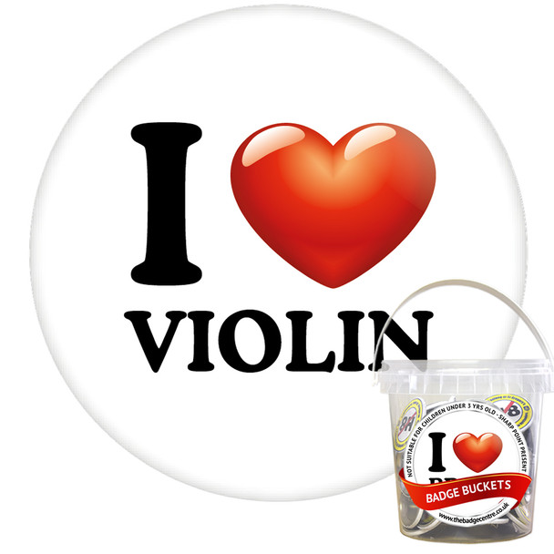Pack of I Love Violin Badges - Badge Bucket