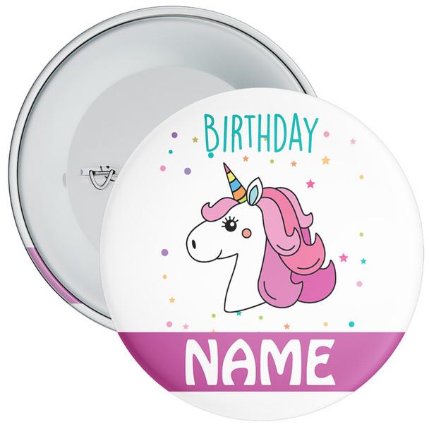 Unicorn Birthday Badge With Name 4