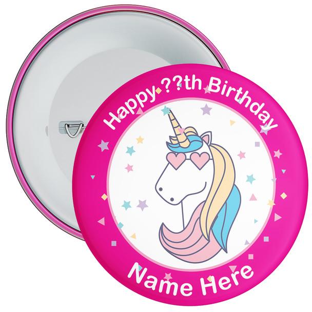 Unicorn Birthday Badge With Name 5