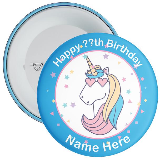 Unicorn Birthday Badge With Name 6