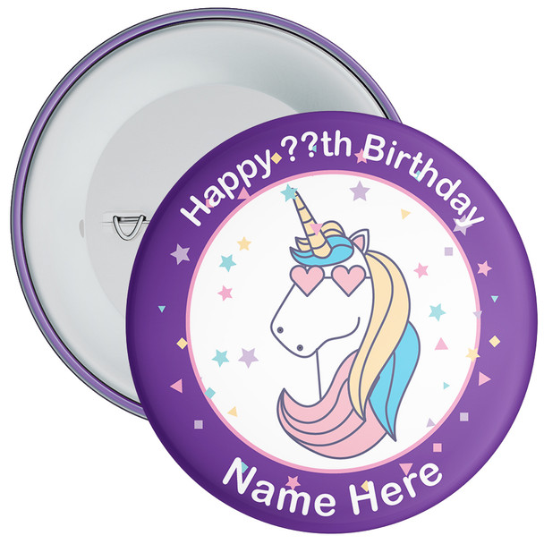 Unicorn Birthday Badge With Name 7