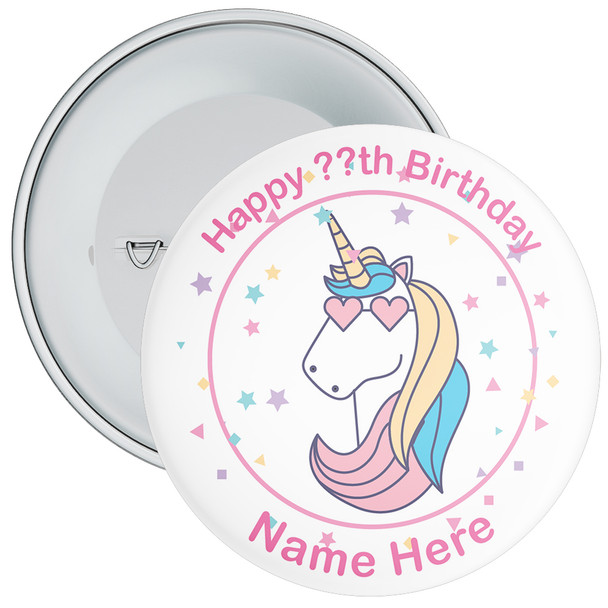 Unicorn Birthday Badge With Name 8