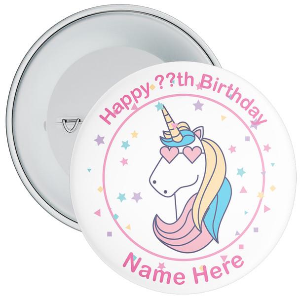 Unicorn Birthday Badge With Name 8