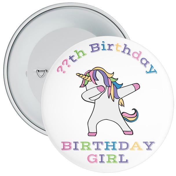 Dab Unicorn Birthday Girl Badge With Age