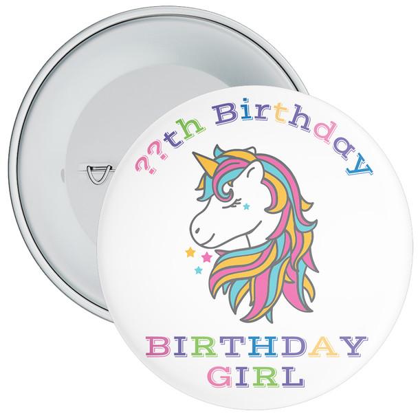 Unicorn Birthday Girl Badge With Age