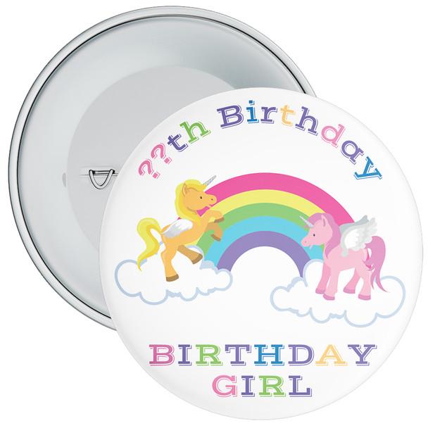 Unicorn Rainbow Birthday Girl Badge With Age