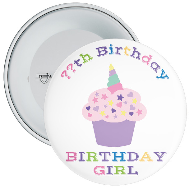 Unicorn Cake Birthday Girl Badge With Age