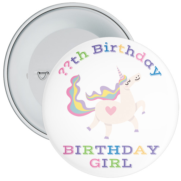 Unicorn Birthday Girl Badge With Age 2