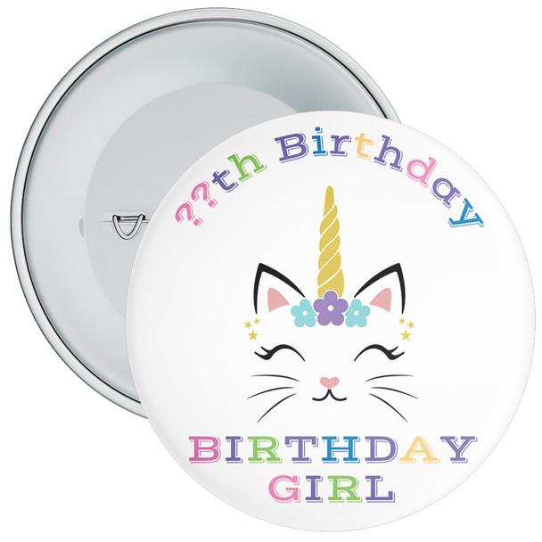 Unicorn Birthday Girl Badge With Age 3