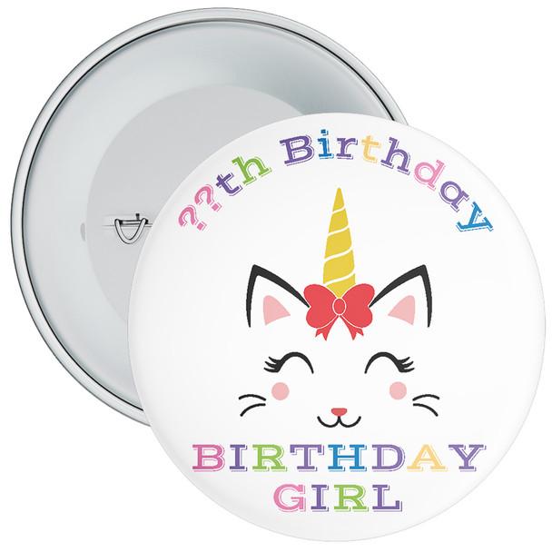 Unicorn Birthday Girl Badge With Age 4