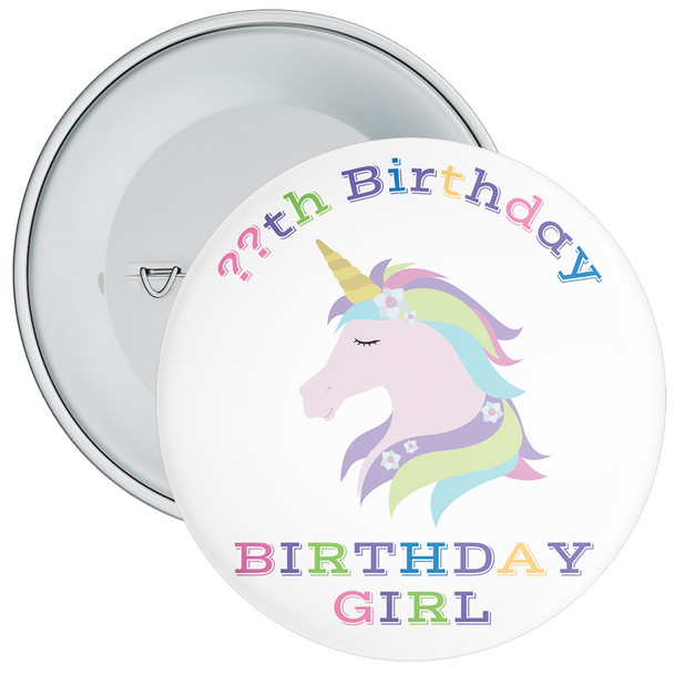 Unicorn Birthday Girl Badge With Age 6