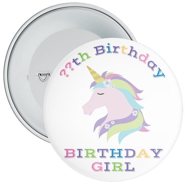 Unicorn Birthday Girl Badge With Age 6