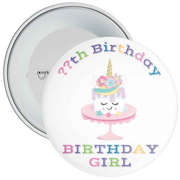 Unicorn Birthday Girl Badge With Age 7