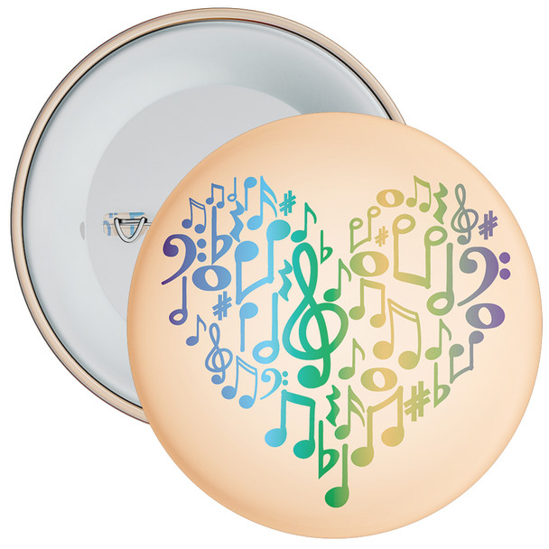 Colourful Notes In Heart Badge