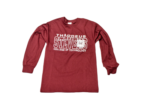 Long Sleeve Maroon  w/ White