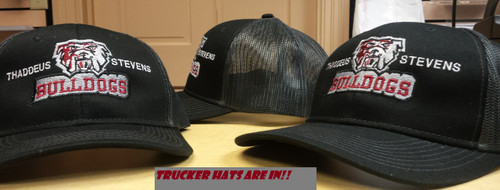 Black with gray mesh back trucker hat