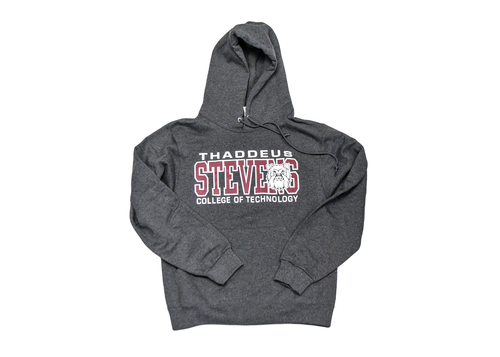 Black Heather Hooded Sweatshirt w/ Maroon and White Logo