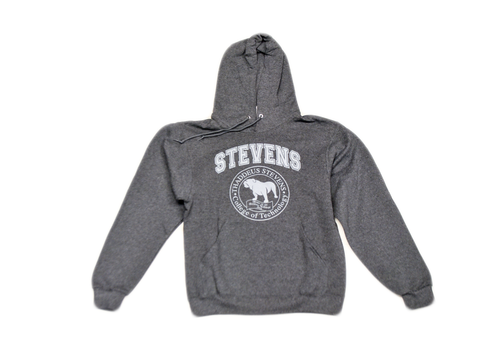 Black Heather Hooded Sweatshirt with Grey Seal