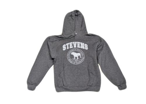 Black Heather Hooded Sweatshirt with Grey Seal