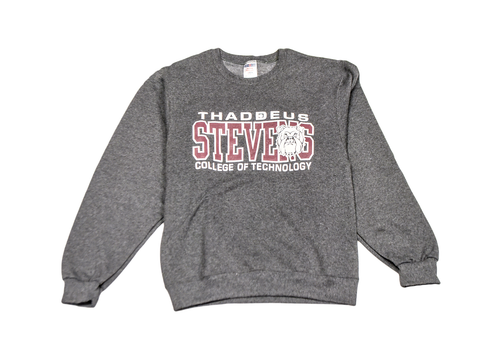 Black Heather Crewneck Sweatshirt w/ Maroon and White Logo