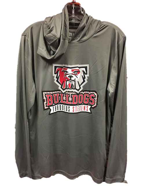 Long Sleeve Hooded Bulldog Sport Shirt/ Gray or Black