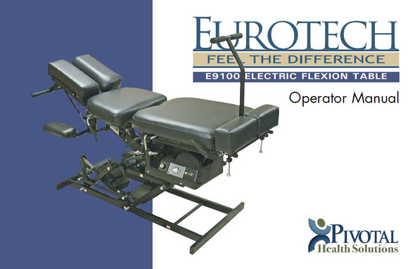 E9100 Electric Flexion Table Operator Manual - PDF Download