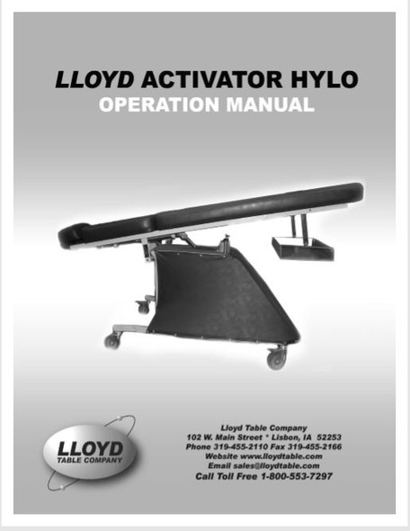 Lloyd Activator Hylo Operation Manual - PDF Download
