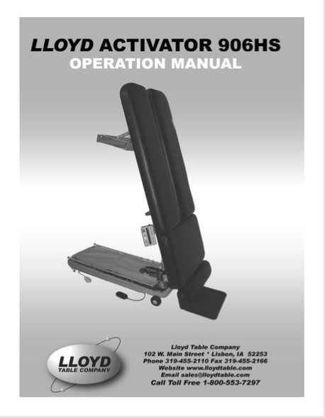 Lloyd Activator 906HS Operation Manual - PDF Download
