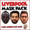 Liverpool Champions League Mask Pack 1 MO SALAH, ROBERTO FIRMINHO, SADIO MANE AND FREE JURGEN KLOPP, MANE