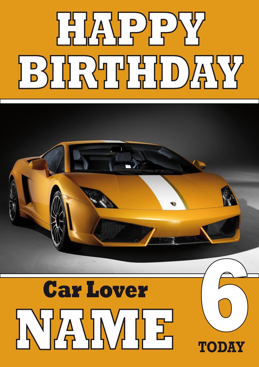Personalised Car Yellow Birthday Card