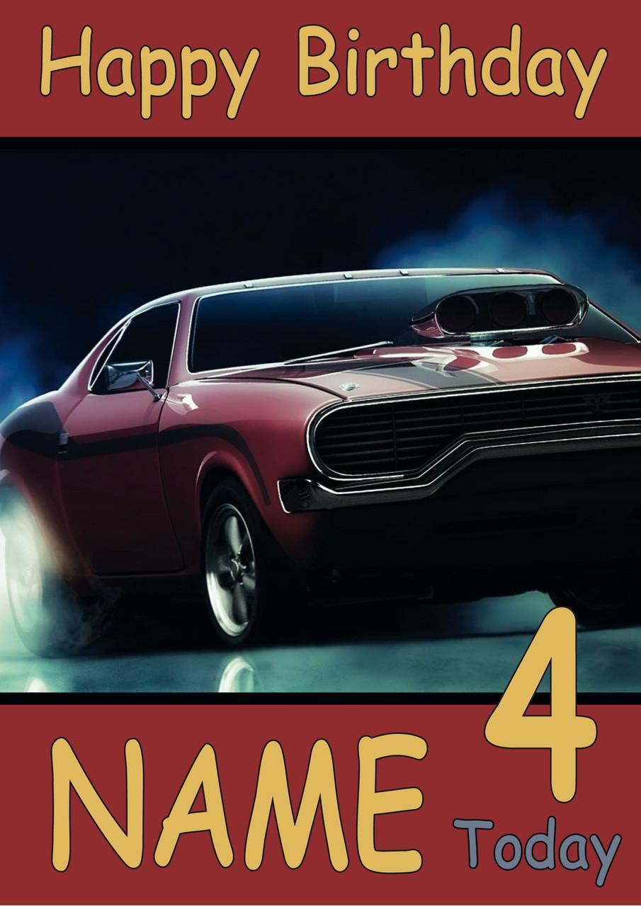 American Muscle Car Personalised Birthday Card